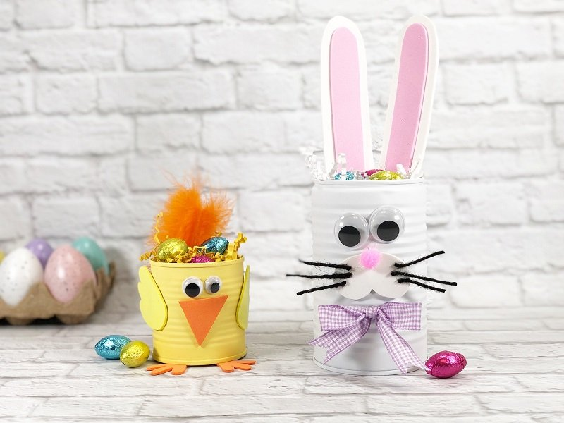 Recycled Can Bunny and Chick for Easter by Creatively Beth #creativelybeth #recycledcraft #upcycled #easterbunny #easterchick #eastercraft