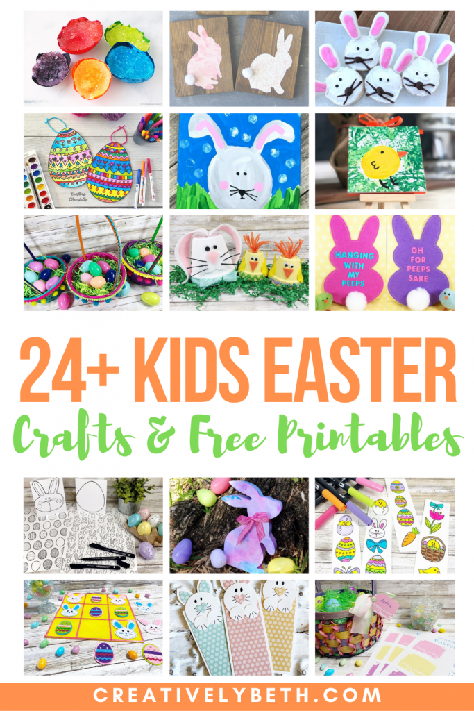 The cutest Easter Kids Crafts and Free Printables with Creatively Beth #creativelybeth #eastercrafts #kidscrafts #roundup #freeprintable