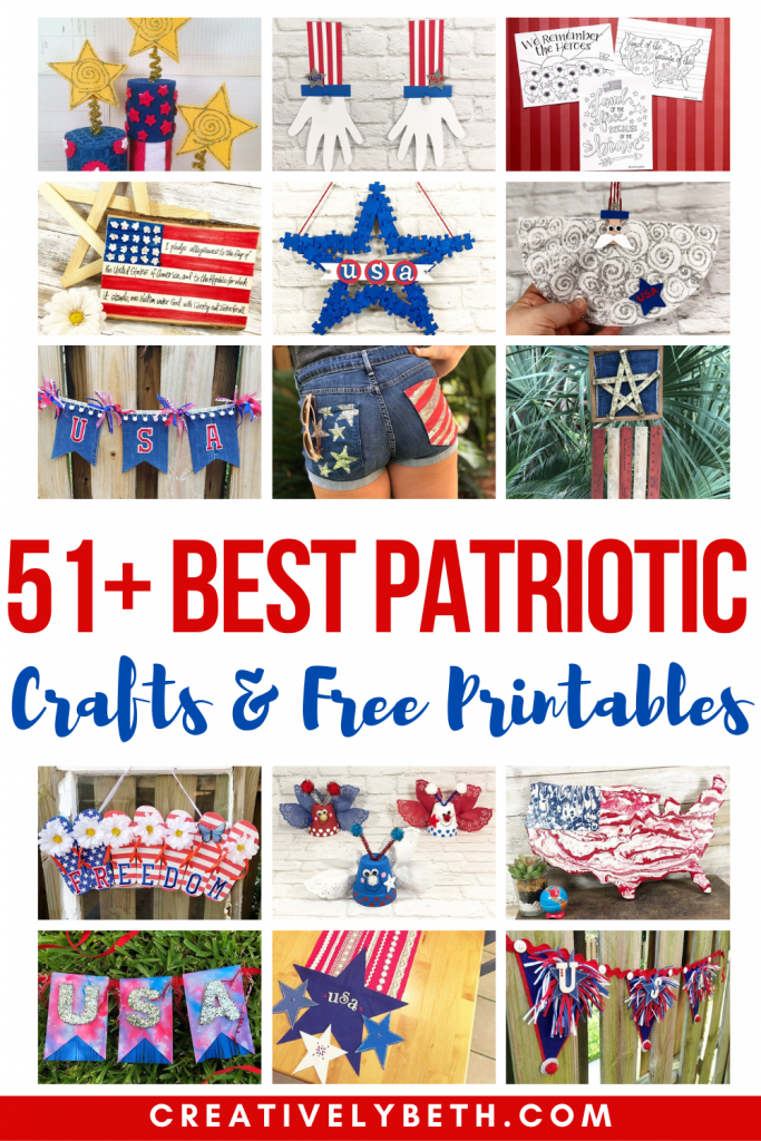51+ of the BEST Patriotic Crafts and FREE Printables with Creatively Beth #creativelybeth #teamcreativecrafts #patrioticcrafts #flagcrafts #america #usa