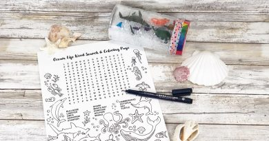Easy Recycled Sensory Bottle with a Free Printable by Creatively Beth #creativelybeth #sensorybottle #freeprintable #wordsearch #doodles #madewithFFW