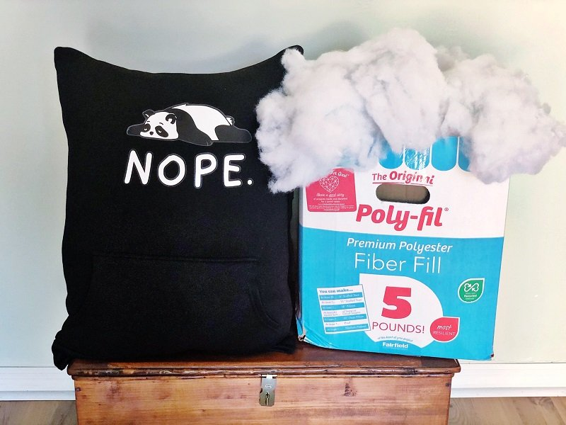 Easy Upcycled Sweatshirt Pillow Stiffed with Poly-Fil by Creatively Beth #creativelybeth #upccyledcrafts #recycledcrafts #pillow #madewithFFW #sweatshirtpillow #hoodiepillow
