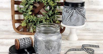 Create Faux Tin Farmhouse Finish Jars with DecoArt Designer Finishes Creatively Beth #creativelybeth #decoart #fauxpaintfinish #farmhouse #decor