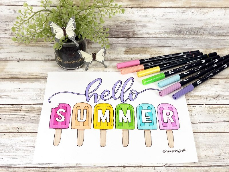 Hello Summer FREE Printable Coloring Page hand-drawn by Creatively Beth #creativelybeth #freeprintable #coloringpage #handdrawn