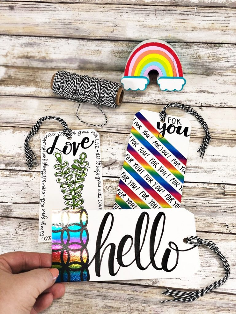 A Trio of Foiled Tags with Thermoweb by Creatively Beth #creativelybeth #thermoweb #decofoil #tonerpaper