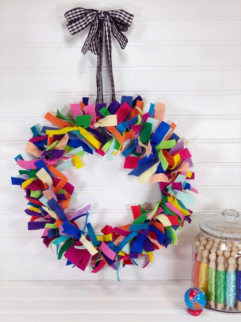 Upcycled Rainbow Scrap Wreath with Earth-friendly Kunin Felt by Creatively Beth #creativelybeth #createdwithkunin #kuninfelt #feltprojects #upcycledcrafts