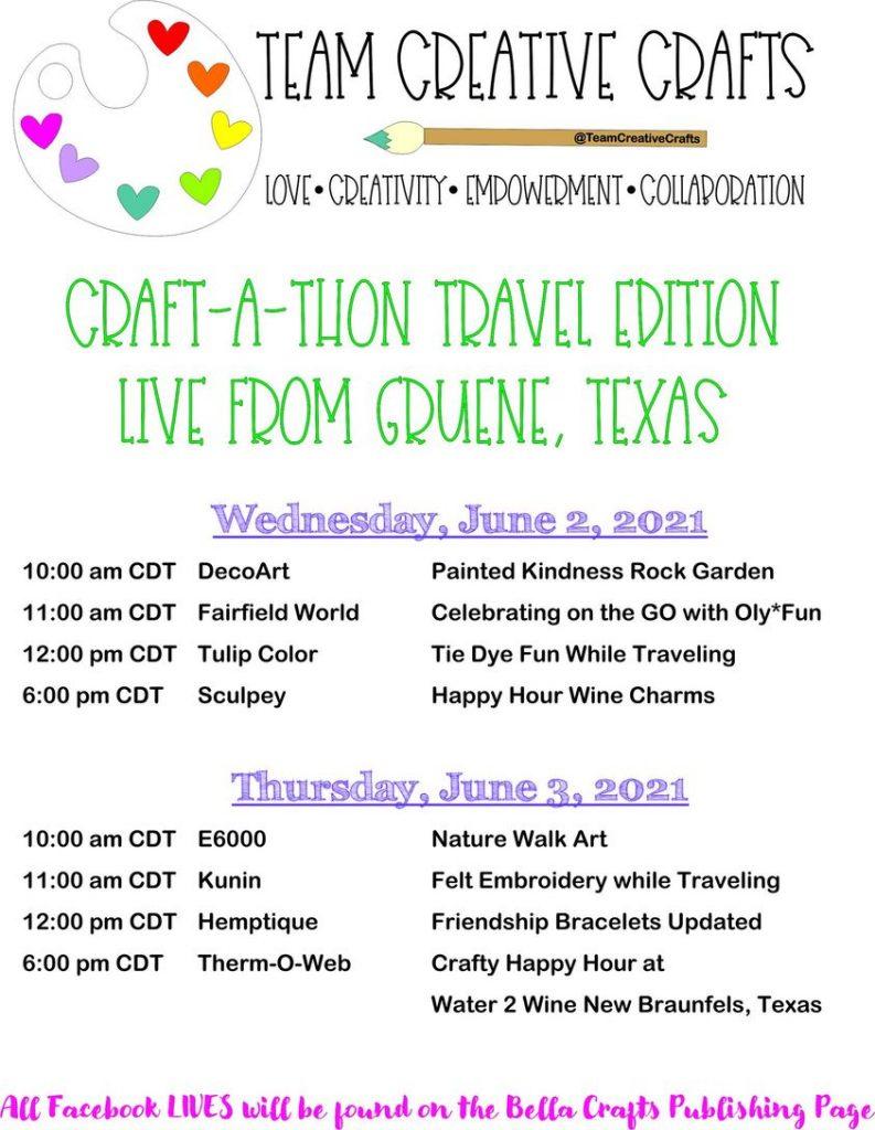 Team Creative Crafts Craft-A-Thon Travel Edition Schedule #teamcreativecrafts #craftathon #creativelybeth #laurakellydesigns #bellacraftspublishing