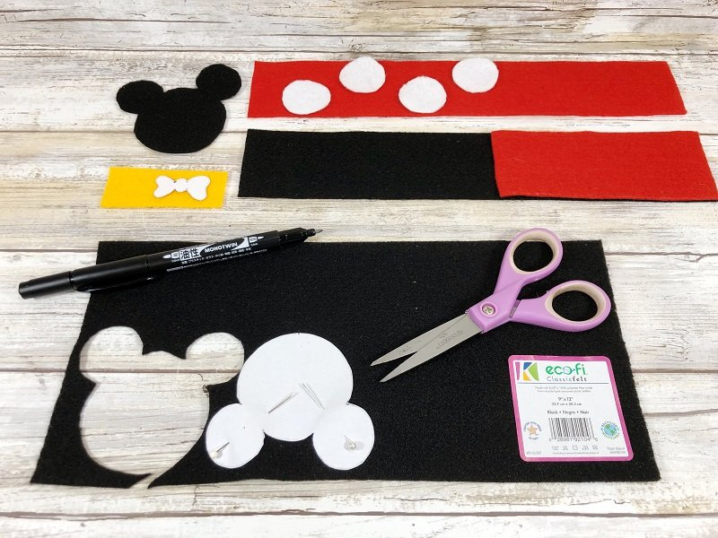 Download Free Patterns then trace and cut out with scissors by Creatively Beth #creativelybeth #disneycrafts #mickeymouse #minniemouse #bookmarks #freepatterns