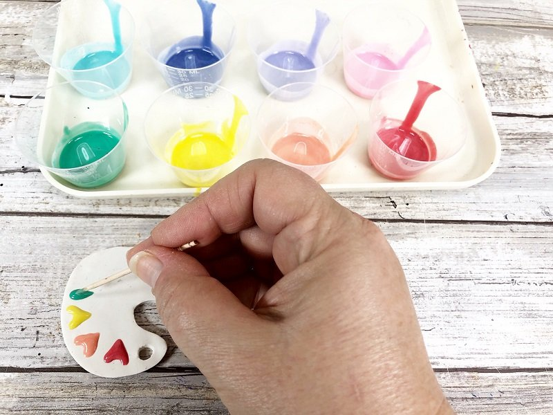 Polymer Clay Painters Palette with Sculpey by Creatively Beth #creativelybeth #polymerclay #liquidsculpey #sculpeybakeshopclay