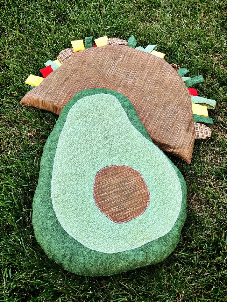 Easy Avocado Cushion Pillow with Poly-Fil NuFoam by Fairfield World by Creatively Beth #Creativelybeth #avocadocrafts #pillow #floorcushion #madewithFFW #polyfil