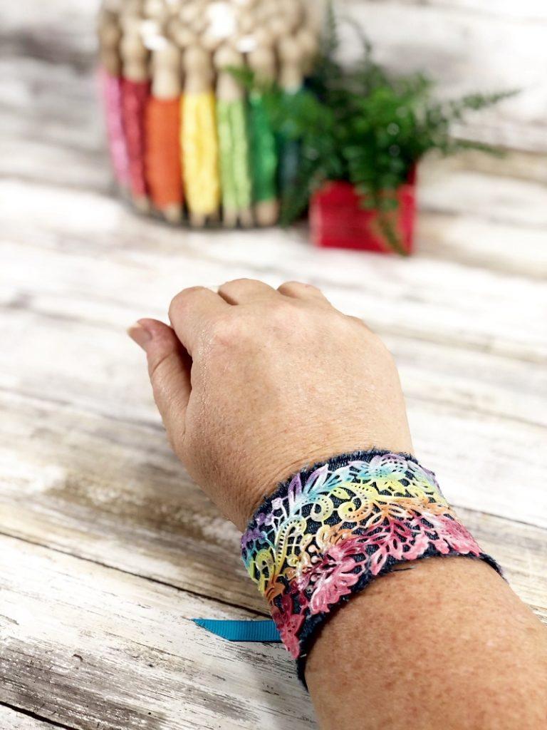 Easy Rainbow Cuff Bracelet with Liquid Sculpey by Creatively Beth #creativelybeth #rainbowcrafts #rainbowjewelry #liquidsculpey #denimcuff #upcycleddenim