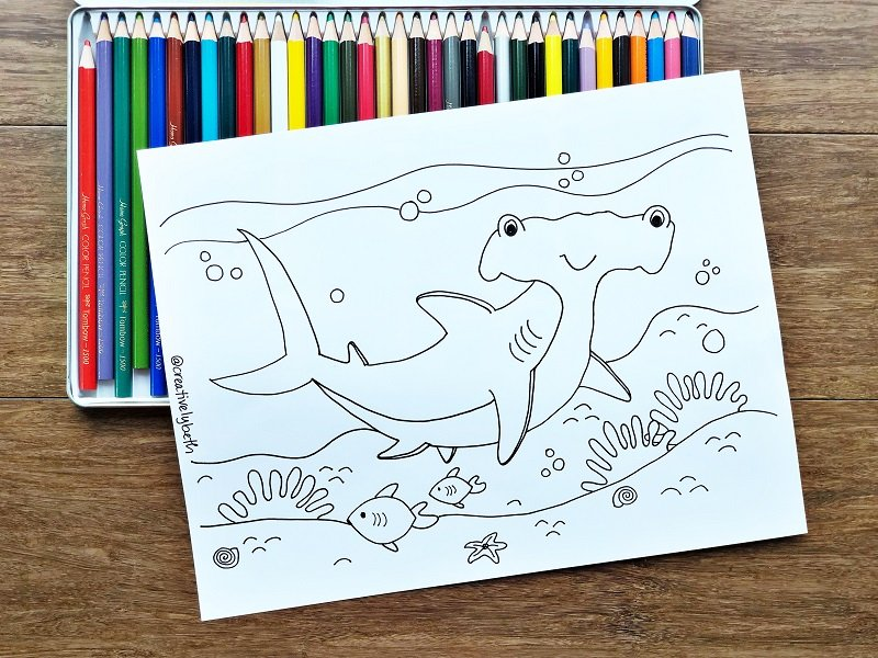 Free Shark Coloring Pages for Shark Week by Creatively Beth #creativelybeth #sharkweek #freeprintable #freecoloringpage #sharkcoloringpage