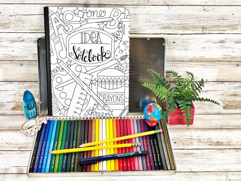 Back to School Notebook Cover to Print and Color by Creatively Beth #creativelybeth #freeprintable #backtoschool #doodle #handdrawn #schoolsupplies