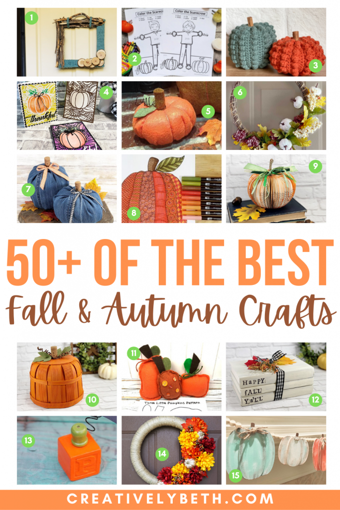 50+ of the Best Fall and Autumn Crafts Round Up by Creatively Beth #creativelybeth #bestfallcrafts #bestautumncrafts #bestcrafts #fall #autumn
