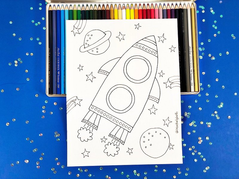 Spaceship Coloring Page by Creatively Beth #totallyfreeprintables #space #creativelybeth #freeprintable #coloringpage