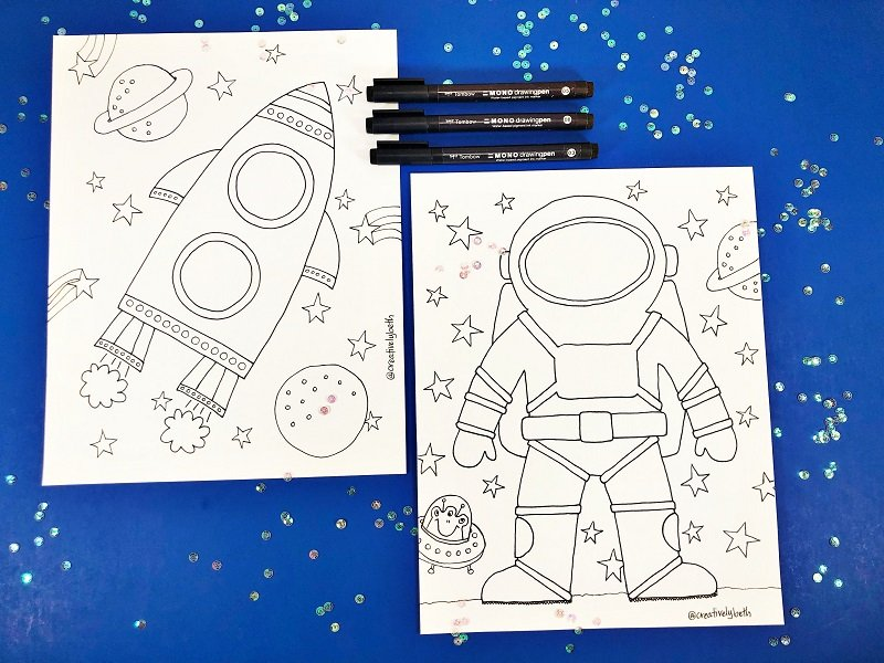 Astronaut and Spaceship Coloring Pages by Creatively Beth #totallyfreeprintables #space #creativelybeth #freeprintable #coloringpage