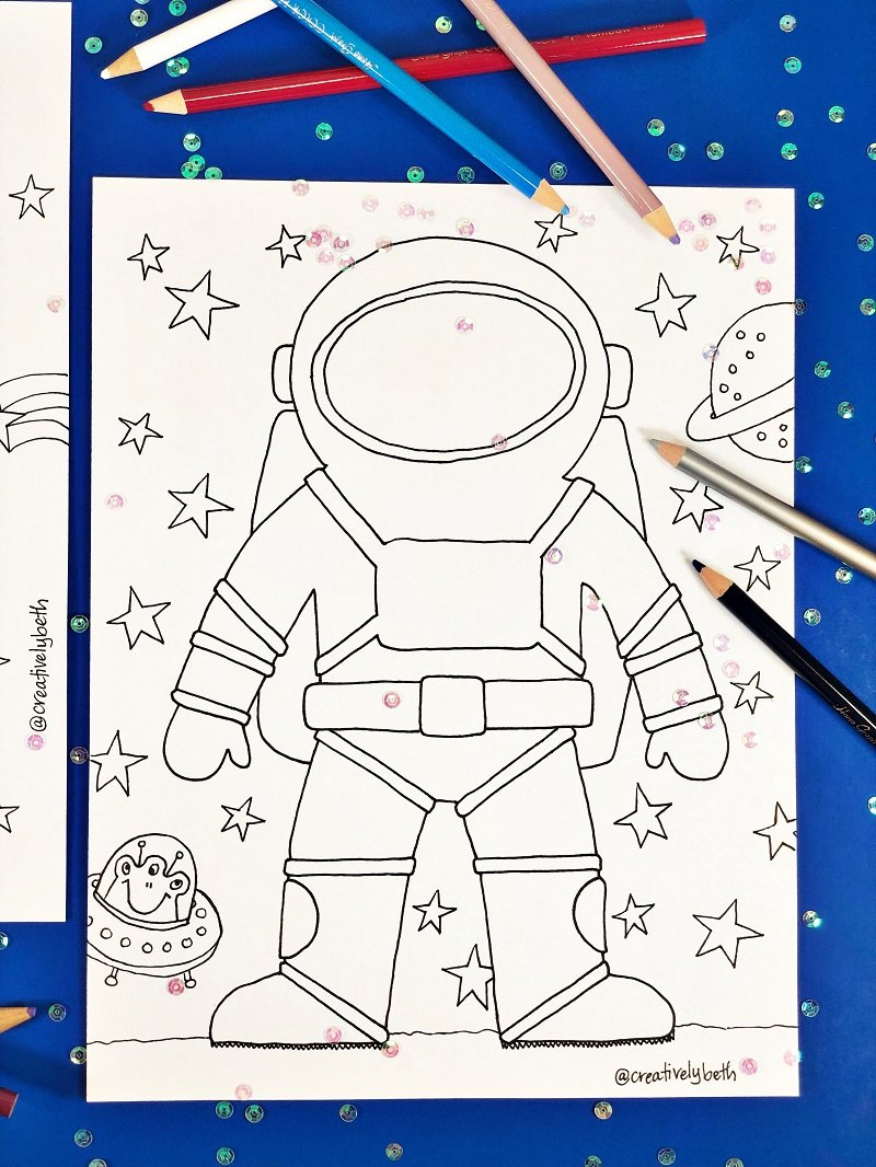 Astronaut Coloring Page by Creatively Beth #totallyfreeprintables #space #creativelybeth #freeprintable #coloringpage