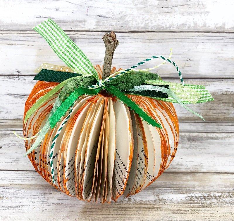 Easy DIY Book Pumpkin with Dollar Tree Supplies by Creatively Beth #creativelybeth #dollartreecrafts #bookpumpkin #pumpkincrafts #fallcrafts #recycledcrafts