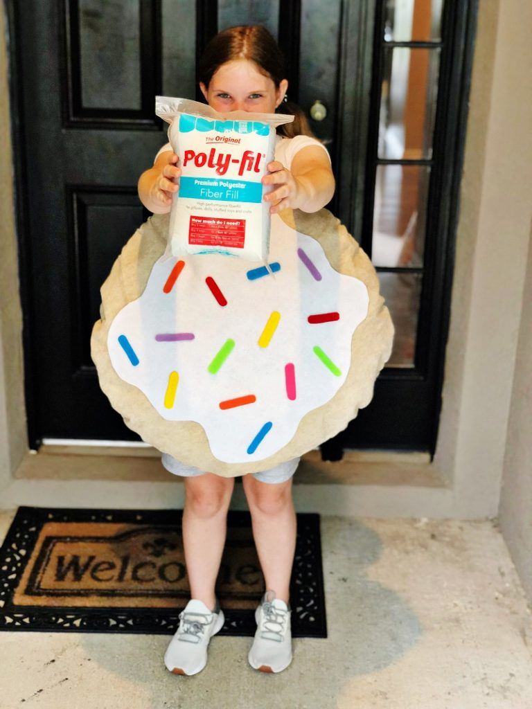 Sweet Sugar Cookie Kids Costume with Poly-Fil by Creatively Beth #creativelybeth #madewithffw #polyfil #halloweencostume #diycostume